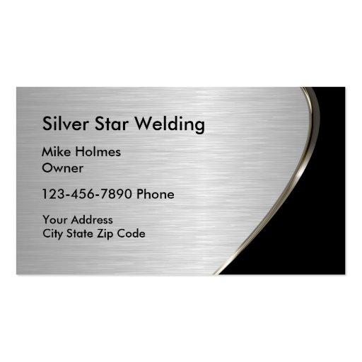 Metallic look welding business cards zazzle for Welding business card ideas