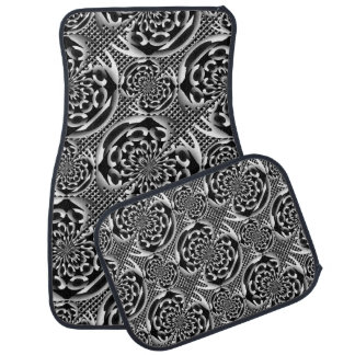 Metallic mesh pattern car floor mat