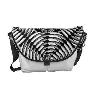 Metallic mesh pattern messenger bag