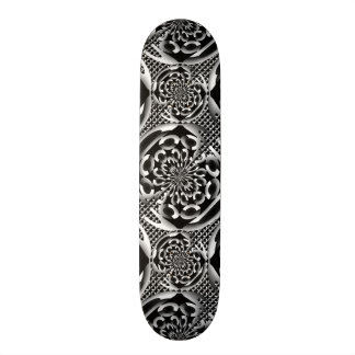 Metallic mesh pattern skateboard deck