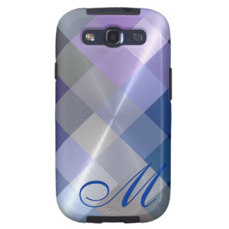 Metallic Metal Diamond Pattern and Monogram 5 Samsung Galaxy SIII Case