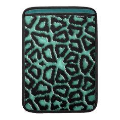 Metallic Mint Green Giraffe Print MacBook Sleeves