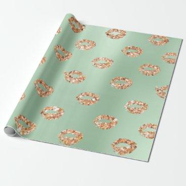McTiffany Tiffany Aqua Metallic Mint Green Tiffany 3D Rose Gold Copper Wrapping Paper