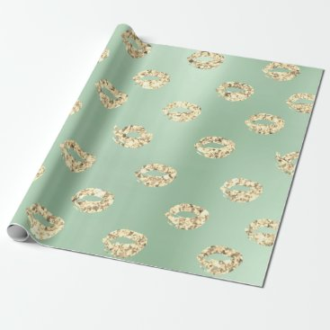 McTiffany Tiffany Aqua Metallic Mint Green Tiffany Foxier Gold Glitter Wrapping Paper