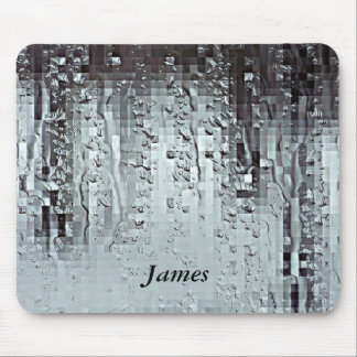 Metallic Modern Abstract Rain Droplets Personalize Mouse Pad