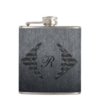 Metallic Monogram Hip Flask
