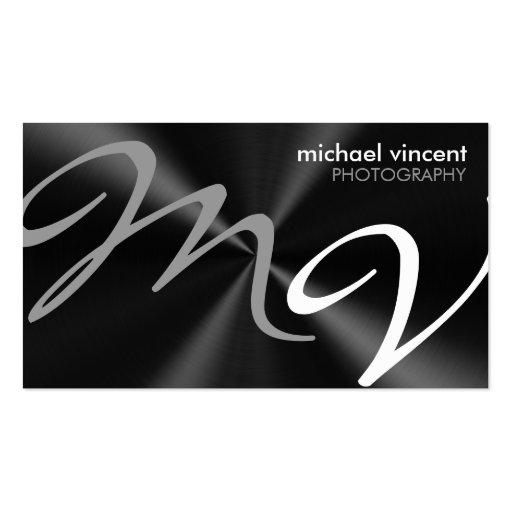 Metallic Monogram Photographer Business Card