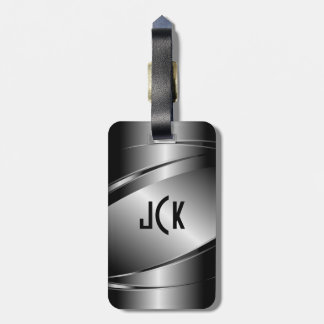 Metallic Monogramed Gray Brushed Aluminum Look Luggage Tag