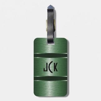 Metallic Monogramed Green Brushed Aluminum Look Bag Tag