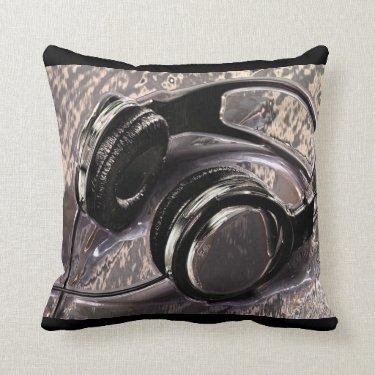 Metallic Music Headphones Throw Pillows