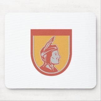 Metallic Native American Indian Chief Shield Retro Mouse Pad
