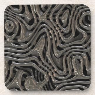 Metallic Ooze - Cool Liquid Metal Look Pattern Beverage Coaster
