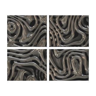Metallic Ooze - Cool Liquid Metal Look Pattern Canvas Print