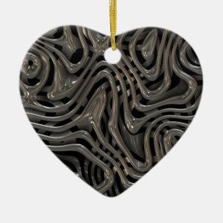 Metallic Ooze - Cool Liquid Metal Look Pattern Ceramic Ornament