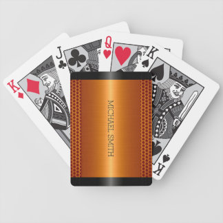 Metallic Orange Stainless Steel Metal Look Bicycle Playing Cards
