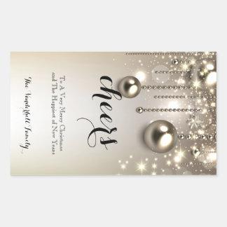 Metallic Ornaments Christmas Wine Bottle Label Sticker