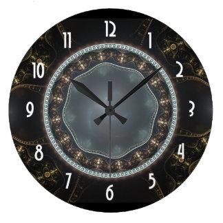 Metallic Ornate Steampunk Fractal Image Large Clock
