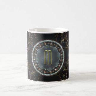 Metallic Ornate Steampunk Fractal Monogram Coffee Mug