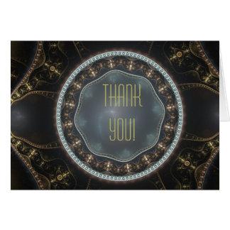 Metallic Ornate Steampunk Fractal Thank You Card