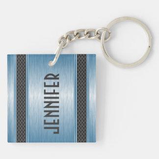 Metallic Pastel Blue Design Brushed Aluminum Look Square Acrylic Keychains