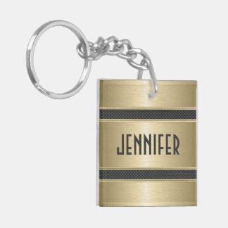Metallic Pastel Gold Design Brushed Aluminum Look Acrylic Keychain