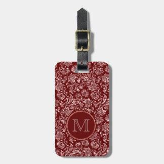 Metallic Pink Damasks Burgundy Background Monogram Bag Tag