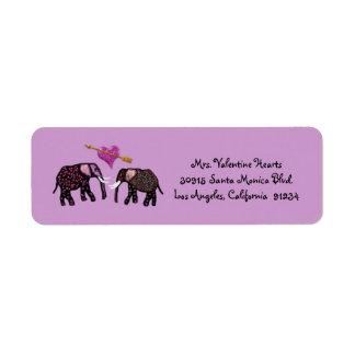 Metallic Pink Elephants Valentine Address Labels