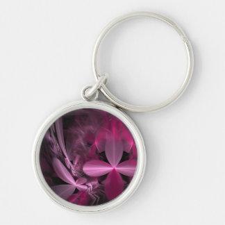 Metallic Pink Flower Petals Keychains