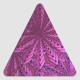 Metallic Pink Fractal Art Flowers Triangle Sticker