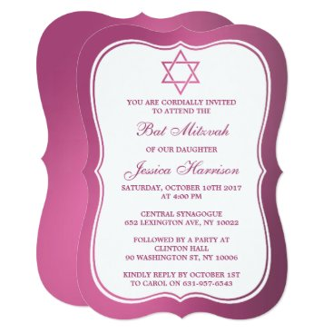 Beach Themed Metallic Pink Jewish Star Of David Bat Mitzvah Card