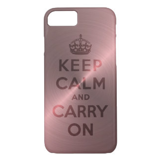 Metallic Pink Keep Calm And Carry On iPhone 7 Case
