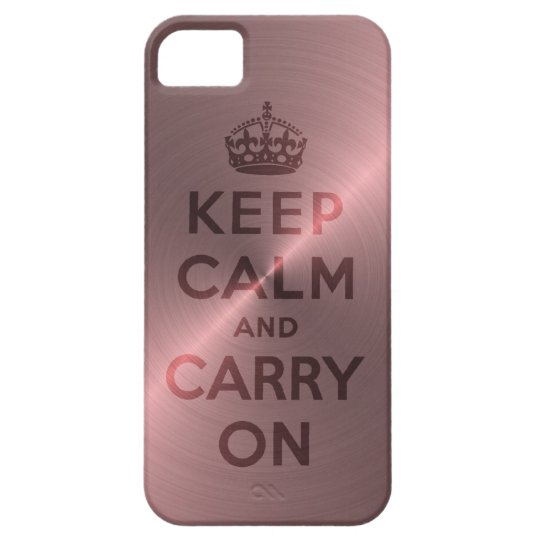 Metallic Pink Keep Calm And Carry On iPhone SE/5/5s Case