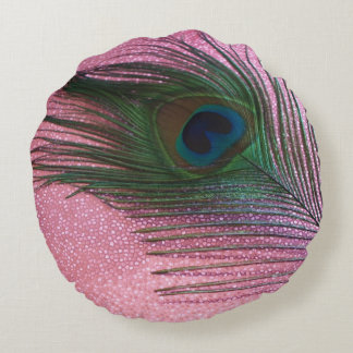 Metallic Pink Peacock Round Pillow