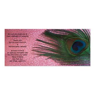 Metallic Pink Peacock Wedding Card