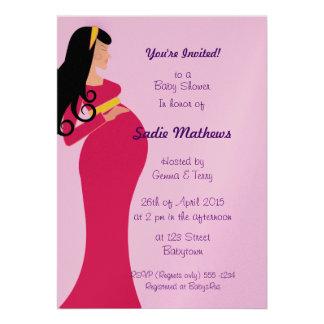 metallic pink pregnant mom babyshower Invite