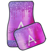 Metallic Pink Purple Glitter Sparkle Monogram Car Floor Mat
