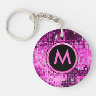 Metallic Pink Sequence Disco Glitter Keychain