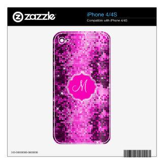 Metallic Pink Sequins Look Disco Mirror-Monogram Skin For iPhone 4