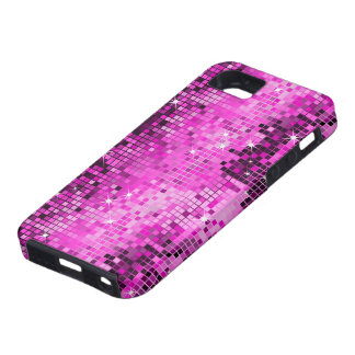 Metallic Pink Sequins Look Disco Mirrors Bling iPhone 5 Covers