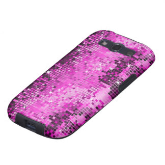 Metallic Pink Sequins Look Disco Mirrors Bling Galaxy S3 Covers