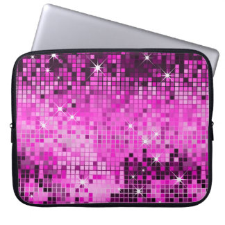 Metallic Pink Sequins Look Disco Mirrors Bling Laptop Sleeve