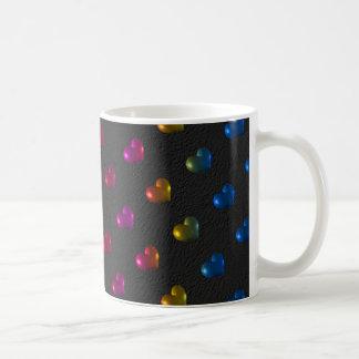 Metallic Puffed Hearts Make A Rainbow Coffee Mug