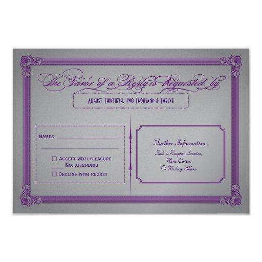 "Metallic Purple and Gray Wedding RSVP 3.5"" X 5"" Invitation Card"