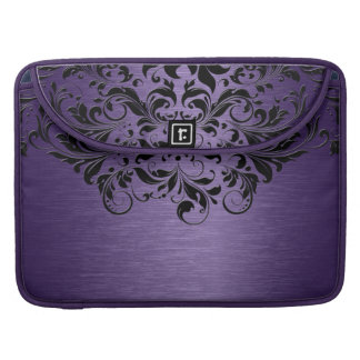 Metallic Purple Brushed Aluminum & Black Lace Sleeve For MacBooks