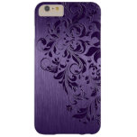 Metallic Purple Brushed Aluminum Purple Lace Barely There iPhone 6 Plus Case