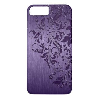 Metallic Purple Brushed Aluminum Purple Lace iPhone 7 Plus Case