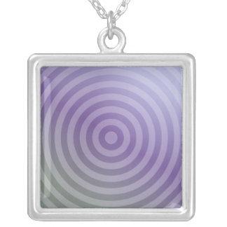 Metallic purple concentric circles square pendant necklace