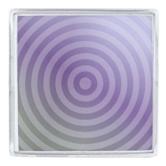 Metallic purple concentric circles silver finish lapel pin
