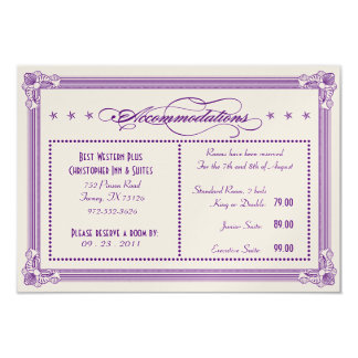 Metallic Purple & Gold Accommodations Card