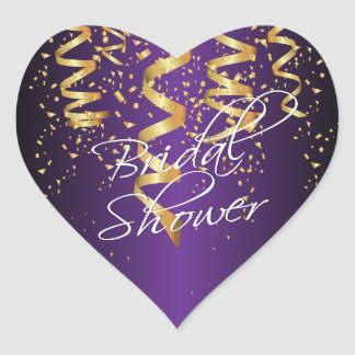Metallic Purple Gold Confetti Bridal Shower Heart Sticker